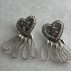 Jewelry - Heart Sequin & Bead Silver Vintage 1980's Earrings